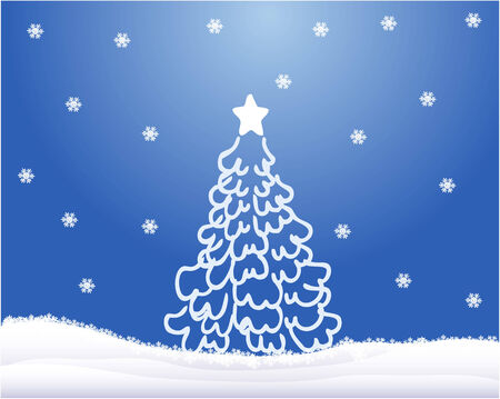 alder tree: Christmas tree ,blue background -vector work Illustration