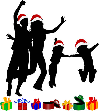 Christmas Family -silhouettes Vector