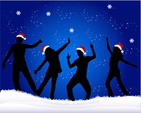 christmas party people: Christmas time - blue background Illustration