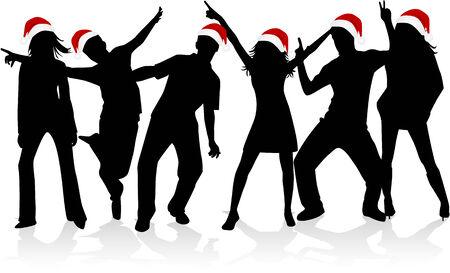 fiesta amigos: Siluetas de Navidad Vectores