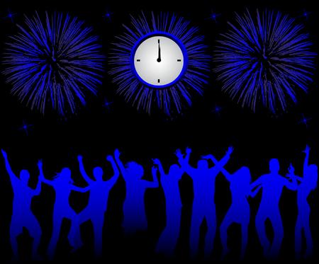 fin de ao: Gente feliz celebraci�n nuevo a�o Vectores