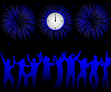 Happy people celebrating new year Vector
