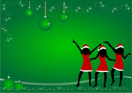 sexy woman disco: Christmas  Time  ,  green  background  Illustration