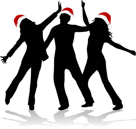 Christmas Time - dencing silhouettes Vector