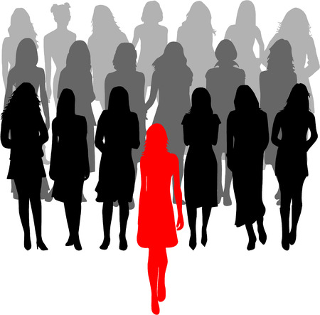 leader - a large group of women - graphics Vector