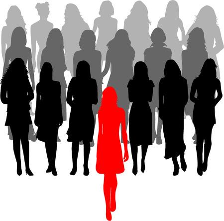 leader - een grote groep vrouwen - graphics Stock Illustratie