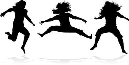 exaltation:  Jumping girls silhouette - vector Illustration