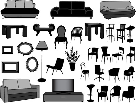 modernity: Large collection of furniture-illustration
