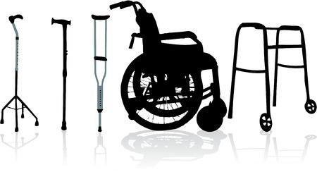 pensioen: rolstoel en krukken-illustratie Stock Illustratie