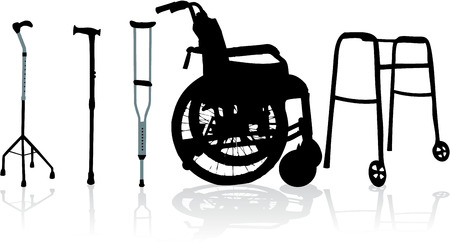 disable: wheelchair and crutches-illustration Illustration