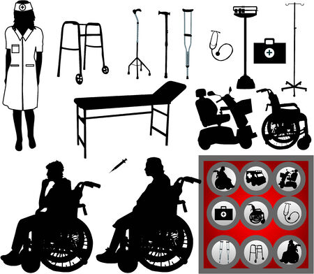 large collection of symbols of medicine Vector