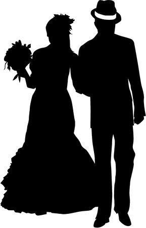 to wed: Coppia di sposi - illustrazione  Vettoriali