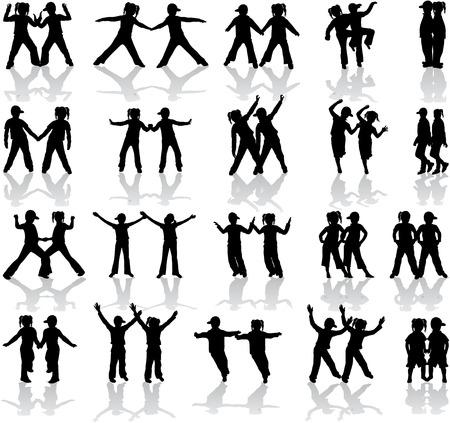 Twins - silhouetten van kinderen  Stock Illustratie