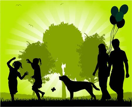 Family walk in the park  Vettoriali