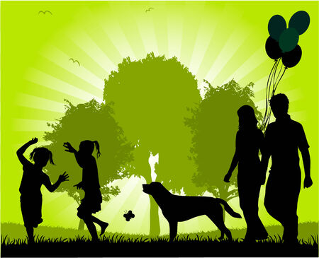 happy family outdoor: Family walk in the park  Illustration