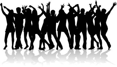 큰 그룹의 젊은 사람들이 춤을 추고있다. 일러스트