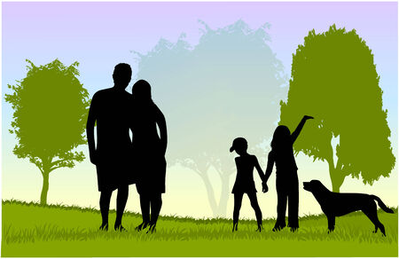 Family walk with the dog in the park Vector