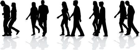 Silhouettes of group, work  Vector