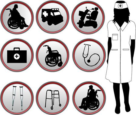 persona en silla de ruedas: Iconos m�dicas - silueta de enfermera