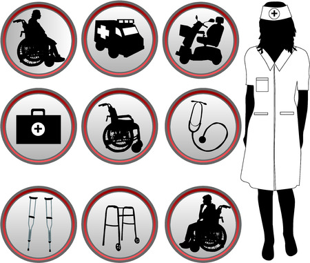 crippled: Medical Icons - silhouette of nurse