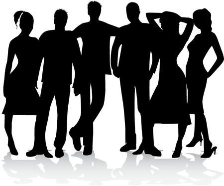group of best friends - silhouette  Vectores