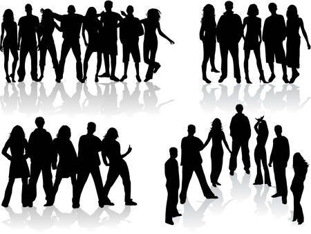 large group of people silhouettes - illustration