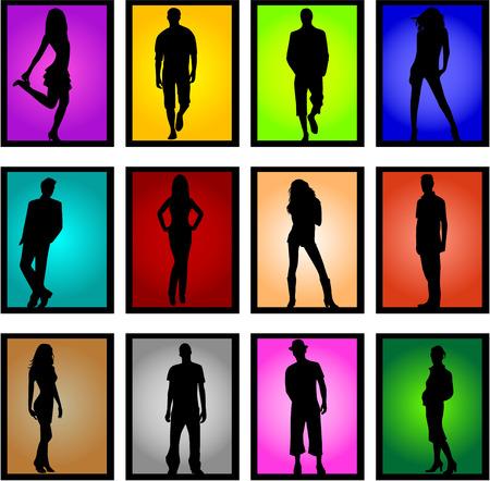 ocupation: Models-women and a male figure, illustration Illustration