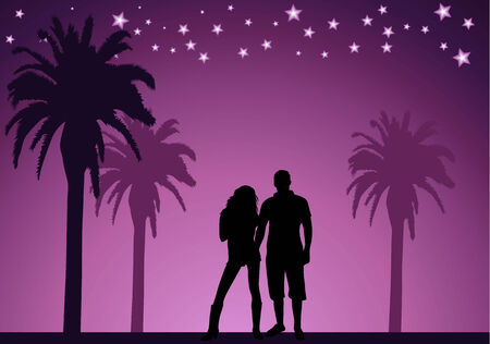 shadow people: couple of young people on the beach Illustration