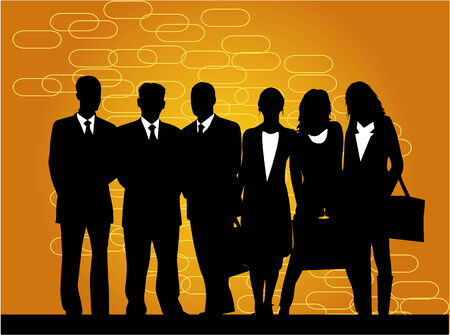 enterprises: silhouettes of businessmen, women and men - gold background