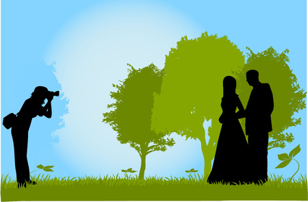Taking photos of young couples, outdoor Vector