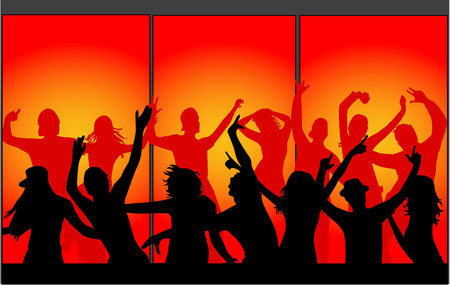 silhouettes of young people-Event Stock Vector - 8666574