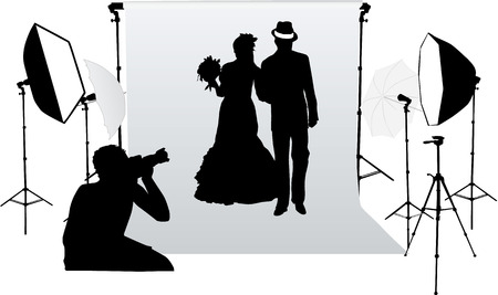a marriage meeting: Wedding photo session in a professional studio