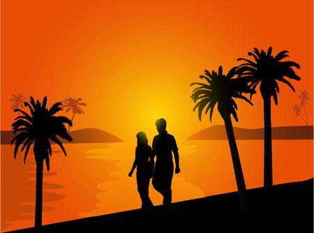 paar in liefde lopen op het strand bij zonsondergang Stock Illustratie