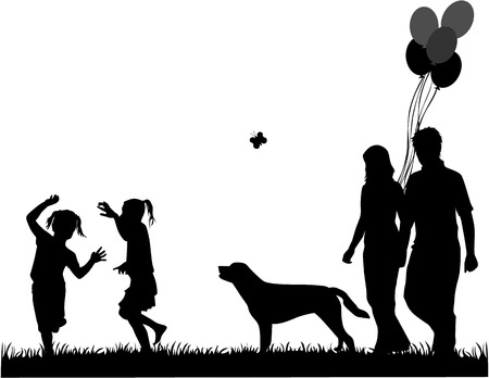 happy family outdoor: family walk the dog, the illustration of vectors