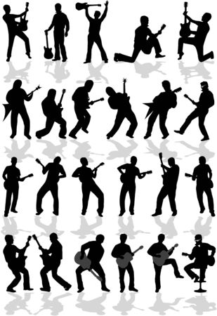 guitariste: Silhouette guitare-diff�rents types de musique Illustration