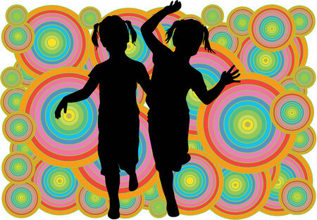 sisters, black silhouettes on colorful background