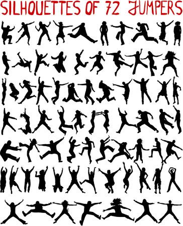 salti: grande collezione - 72 profili di persone saltando