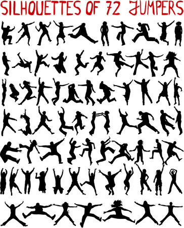 large collection - 72 profiles of people jumping Stock Vector - 8666612