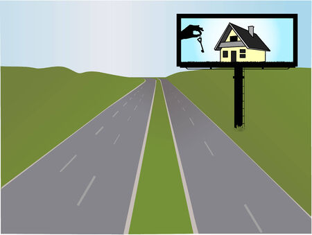 billboard on the highway, illustration Stock Vector - 8666532
