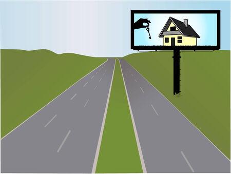 billboard on the highway, illustration Vector