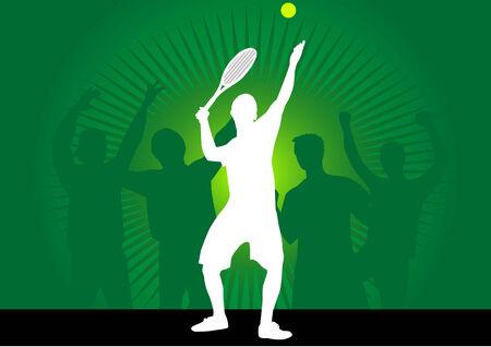 tennisspeler in actie-figuur in de vectoren