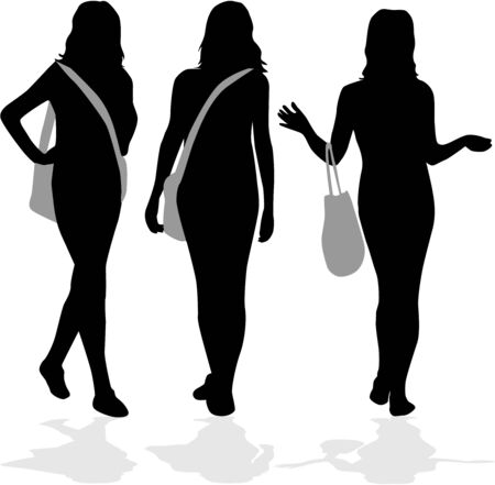 Girls shopping Stock Vector - 8741429