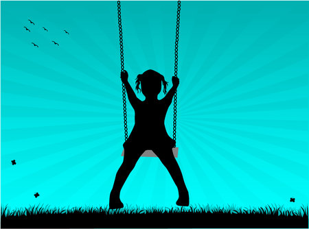 children silhouettes: Girl on a swing