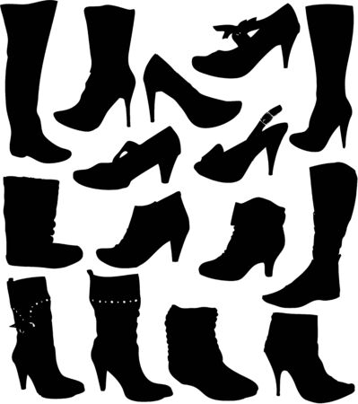collection of womens shoes Vector
