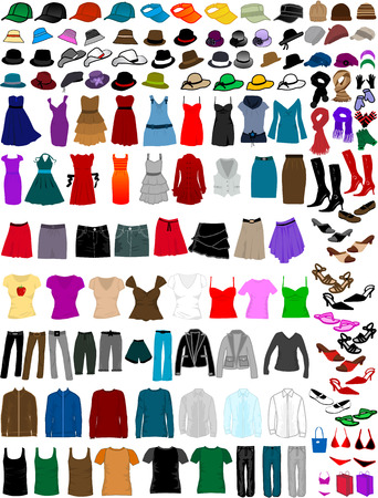 big collection of clothes and accessories Stock Vector - 8741492