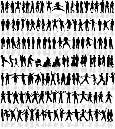Large collection of people - 140 profiles Vector