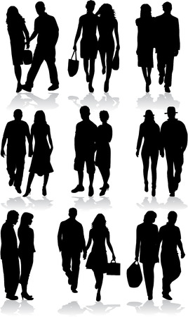 couples - profiles of people Stock Vector - 8741459