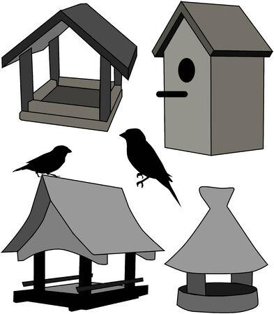 feeder - bird house Vector