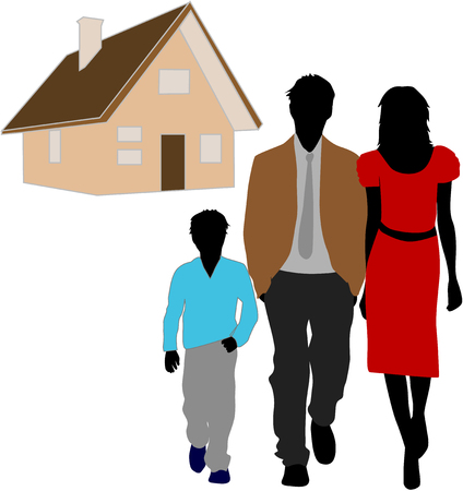 family and her house Stock Vector - 8741390