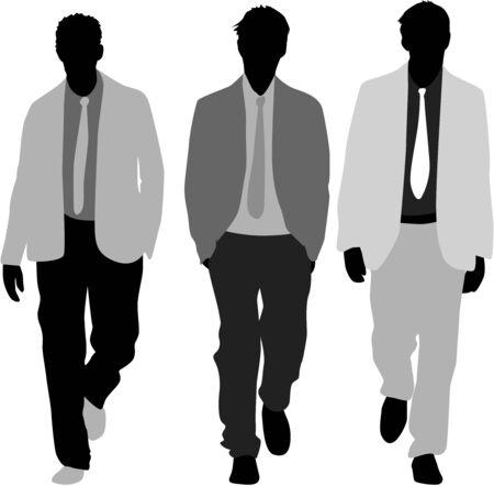 3 つのおしゃれな男性  イラスト・ベクター素材